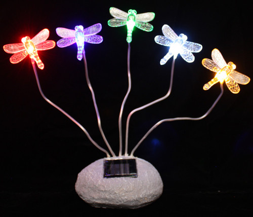 Solar Garden Lights Dragonflies with Steady On 5 Color LED Lights.