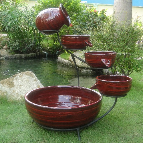 Solar Cascading 5 Piece Water Fountain , Red Lava Ceramic, Optional AC Adapter.