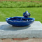 Solar water fountain has a Koi fish made from Blue Ceramic.