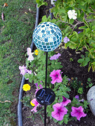 Solar Garden Lights Mosaic Blue Glass Globe Stake with Color Changing LED.