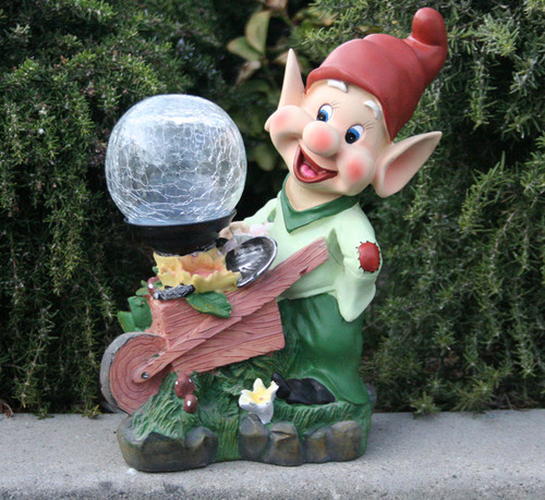 Solar Garden Lights Dwarf Statue Holding Crackled Glass Globe Light.