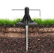 Solar Pole Lights Security Anchor with Metal Auger and Bubble Level.
