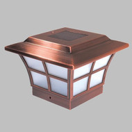 Solar Post Cap Lights of Copper Plated Metal for 4 X 4 Posts.