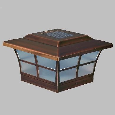 Solar Post Cap Lights of ABS Copper with 3 White LED Bulbs.
