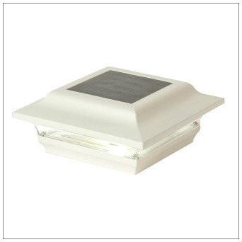 Solar Post Cap Lights Low Profile White Finish for 4 X 4 Post.