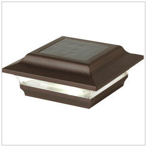 Solar Post Cap Lights Low Profile Bronze Finish with 1 Bright LED.