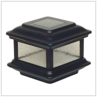 4x4 Solar Deck Post Cap Lights are Black Aluminum with Pebbled Glass Panels.