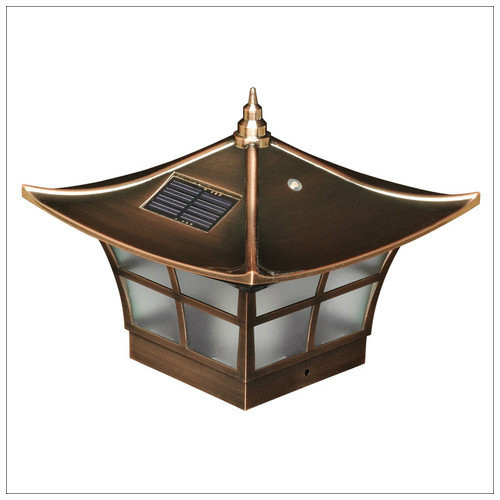 Solar Post Cap Lights in an Asian Design with a Copper Finish.