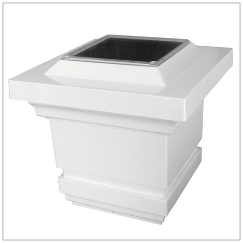 5x5 White Solar Post Cap Lights with Frosted Lens and 4 Soft White LED.