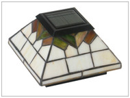 Solar Deck Post Cap Lights in Craftsman Style Stained Glass and 4 LED Lights.