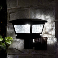 Black Solar Wall Mount Lights with Pebbled Glass and 2 Brilliant White LED.