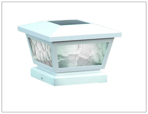 White Solar Deck Post Cap Lights with Pebbled Glass Inserts and 2 White LED.