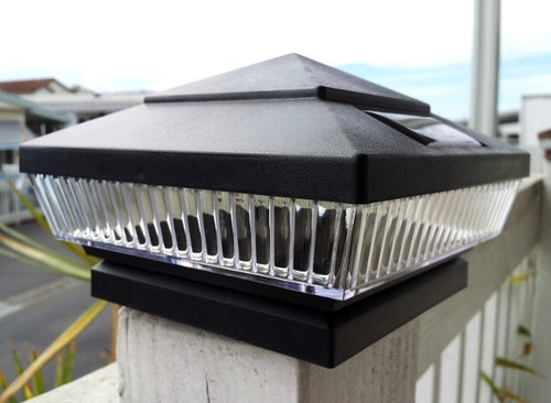 Solar Post Cap Lights Low Profile Black with Bright White or Color LED.
