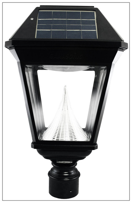 Solar Post Lamp Coach Lantern and Beveled Glass with 3 Inch Pole Mount.