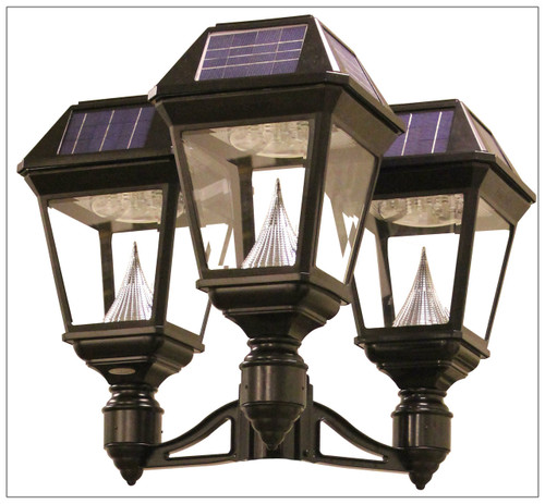 Solar Power Lamp Post with Three Glass Coach Lanterns and 3 Inch Pole Mount.