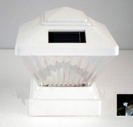 Solar Post Cap Lights in White Finish with 1 White Ultra Bright LED.