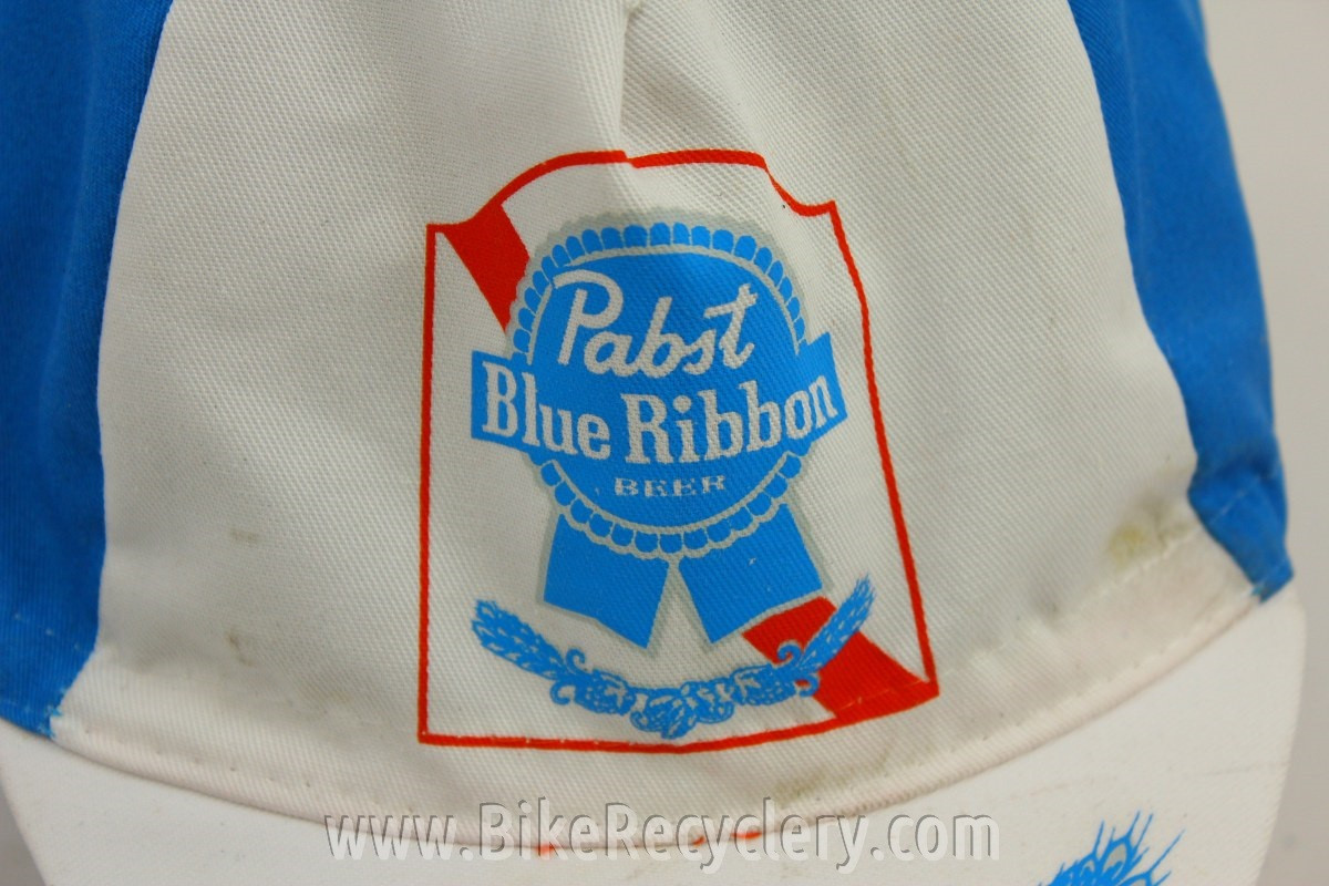 NOS Vintage PBR Cycling Cap  Hipsters Dream Hat Pabst Blue Ribbon ... 0b16bc281