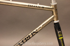 "EARLY Merlin ""Road"" Titanium Bike Frame: 1988 52cm (c-t) Black Decals #511, Rob Vandermark Built MINT"