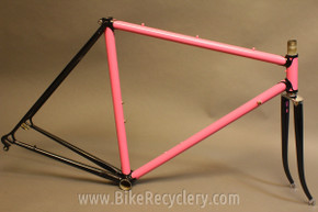 Vintage Italian Picchio Special Road Bike Frame: 52cm, Pink/Black/Chrome, Gorgeous Lugs & Cutouts, Box Fork
