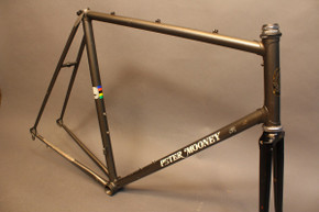 1987 Peter Mooney Custom Road Bike Frame: 58cm w/ Short TT, Metallic Charcoal, Frame #416