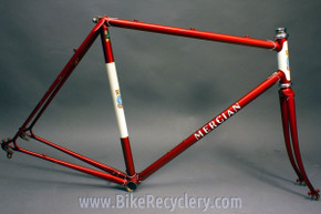 56cm 1980's Mercian Kings of Mercia Frame & Fork: Reynolds 531, Heart Lugs, Red & White, 126mm, Fender & Rack Eyelets