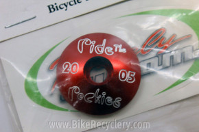 "1 1/8"" Threadless Stem Top Cap: ""Ride The Rockies"" Anodized Red or Black"