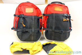 Vintage Robert Beckman Panniers: Red/Black, 5-Hook & Strap System, Rain Covers, Used (pair)