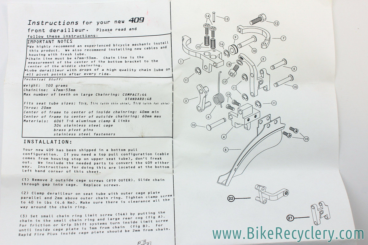 Nib Nos Paul Components 409 Front Derailleur Red Blue Dual Pull Mountain Bike Parts Diagram Picture Exploded Rebuild Manual