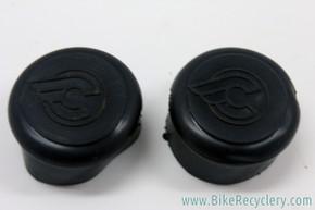 NOS Cinelli Rubber Handlebar End Caps: Flying C Logo - Black (Pair)