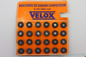 Vintage NOS Velox Rubber Handlebar End Plugs: Black (Pair)
