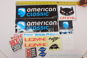 Vintage Bicycle Sticker Lot: Onza - Rockshox - American Classic - Park Tool...