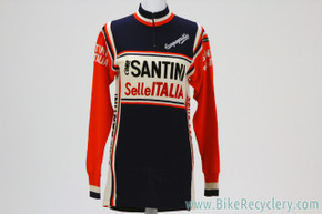 SANTINI Selle ITALIA Team Wool Jersey: Long Sleeve - Vintage 1970's/1980's (Size 4)