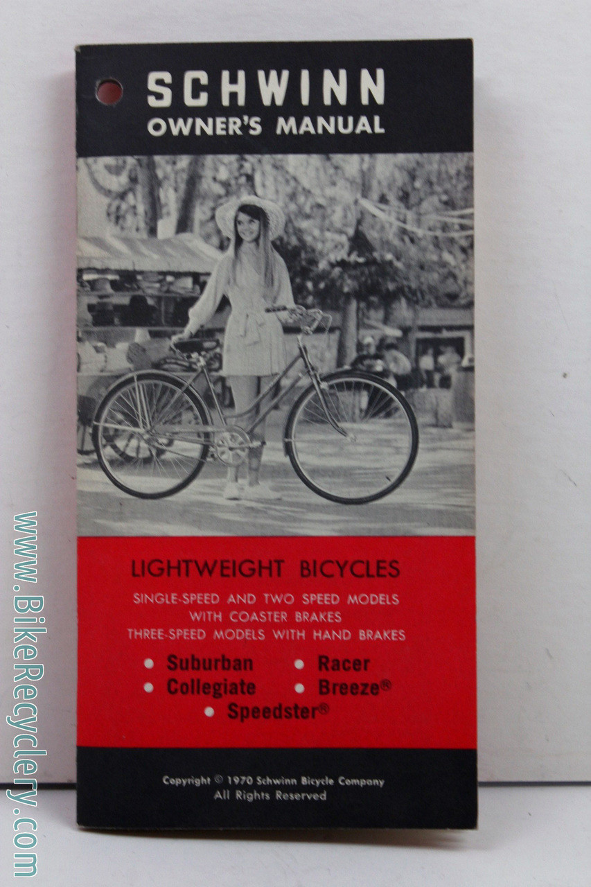 NOS 1970 Schwinn Lightweight Bicycle Owner's Manual:  Suburban/Collegiate/Racer/Breeze/Speedster (MINT)