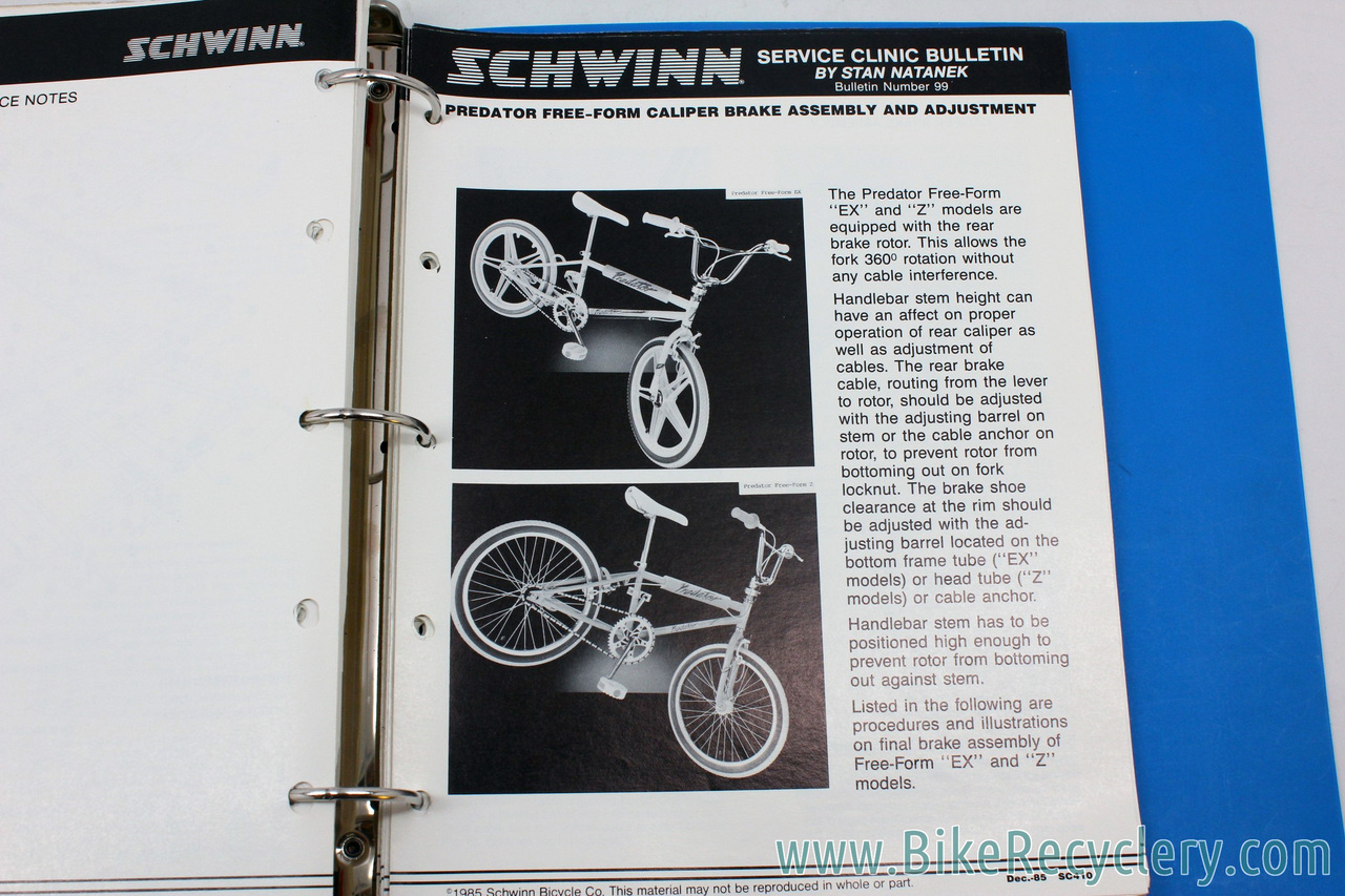 COMPLETE Schwinn Service Clinic Bulletin Set 1970-1980: 99 Bulletins +  Bonus 1985 BMX / Shimano Tech (near mint)