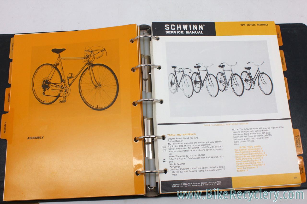 Schwinn Service Manuals Volume 1 & 2 in Black Binders: Professional Version  - 1969-1972 - Registration Certificate! (Near Mint)