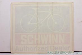 """NOS Schwinn Authorized Dealer Window Decal: 12"""" x 9.5"""" - 1970's (MINT)"""