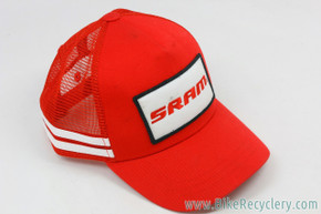 SRAM Red Trucker Snapback Hat: Red W/ White Stripes & Embroidered Patch (NEW)