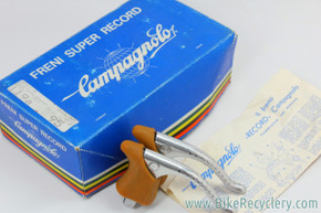 NIB/NOS Campagnolo Super Record Brake Levers:  #4062 - Drilled - Gum/Tan World Hoods (PRISTINE)