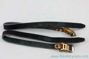 NOS Alfredo Binda Leather Toe Straps: Black