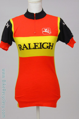 Raleigh Ti Wool Cycling Jersey: Vintage 1970's - Red/Yellow/Black - Giordana - Size 2 (Med) - Short Sleeve (MINT)