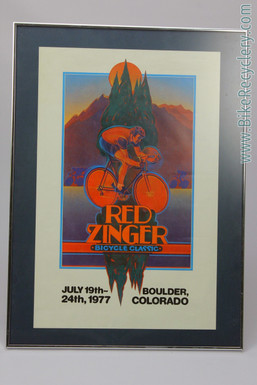 1977 Red Zinger Bicycle Classic Race Poster: Boulder CO Mountains - Original - Framed/Matted (MINT)