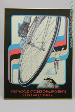 1986 Colorado Springs Worlds UCI Bicyle Race Poster:  Original - Framed/Matted (MINT)