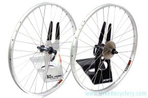 NOS Sunrims Rhyno LIte / Deore LX M570 Wheelset: 32H - 8sp 11-30t Cassette - Silver
