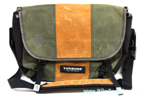 NEW Timbuk2 Custom Classic Commuter Messenger Bag: SUEDE - Waterproof Pattern - Green & Tan