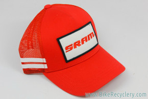 SRAM Red Trucker Hat: Red w/ White Stripes & Embroidered Patch - Snapback (NEW)