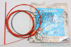 NIB/NOS Vintage Clark's Easy Glide Road Brake/Shift Cable & Housing Set: RED - Teflon - French & Standard Ends