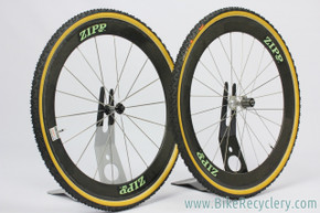 1990's ZIPP 404 Tubular Carbon Wheelset: 18/24H - Hershey Naked / Dura Ace 7700 / Challenge Limus - Yellow/green Decals (Near Mint+)
