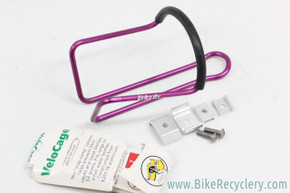NOS Velocity Snap-Clamp Alloy Bottle Cage: 3DV PURPLE Ano - Vintage 1980's / 1990's