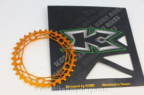 KCNC K4 Cobweb Chainring: 34t x 110mm Road Compact - Orange / Gold Anodized (NEW)