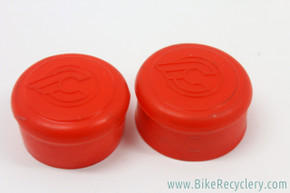 NOS Cinelli Rubber Handlebar End Caps: Red - Flying C Logo (Pair)